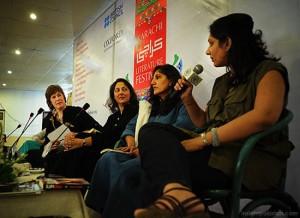 Maniza Naqvi, Nafisa Haji, Bina Shah at KLF