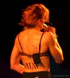 Madonna back tattoo says Malala
