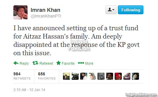 Imran Khan tweet about Aitzaz Hassan